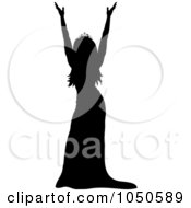Royalty Free RF Clip Art Illustration Of A Miss America Pageant Winner Holding Up Her Arms by Pams Clipart