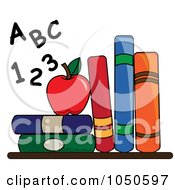 Royalty Free RF Clip Art Illustration Of Letters And Numbers By An Apple And School Books