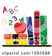 Royalty Free RF Clip Art Illustration Of Colorful Letters And Numbers By An Apple And School Books