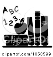 Royalty Free RF Clip Art Illustration Of Black And White Letters And Numbers By An Apple And School Books