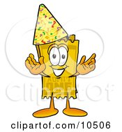 Yellow Admission Ticket Mascot Cartoon Character Wearing A Birthday Party Hat