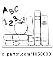 Royalty Free RF Clip Art Illustration Of An Outline Of Letters And Numbers By An Apple And School Books