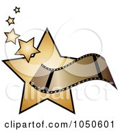 Royalty Free RF Clip Art Illustration Of A Film Strip Over Golden Stars