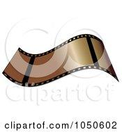 Royalty Free RF Clip Art Illustration Of A Waving Golden Film Strip