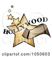 Royalty Free RF Clip Art Illustration Of A Film Strip Over Golden Hollywood Stars
