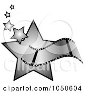 Royalty Free RF Clip Art Illustration Of A Film Strip Over Silver Stars