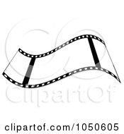 Royalty Free RF Clip Art Illustration Of A Waving Black And White Film Strip