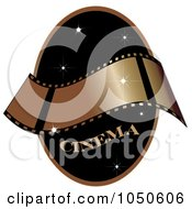 Royalty Free RF Clip Art Illustration Of A Gold Film Strip And The Word Cinema On A Black Starry Oval