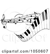 Royalty Free RF Clip Art Illustration Of A Wavy Keyboard With Music Notes