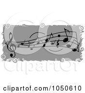 Gray Music Notes Banner With Grungy White Borders