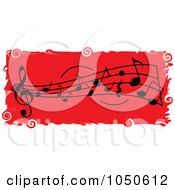 Red Music Notes Banner With Grungy White Borders