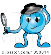 Royalty Free RF Clip Art Illustration Of A Blue Detective Creature