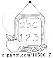 Royalty Free RF Clip Art Illustration Of An Outline Of A Worm And Apple In Front Of A Letter And Number Chalkboard by Pams Clipart