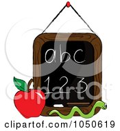Royalty Free RF Clip Art Illustration Of A Worm And Apple In Front Of A Letter And Number Chalkboard by Pams Clipart