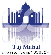 The Silhouetted Blue Taj Mahal Reflection And Text