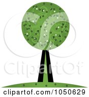 Royalty Free RF Clip Art Illustration Of A Retro Tree With Swirl Foliage by Pams Clipart
