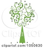Royalty Free RF Clip Art Illustration Of A Green Swirly Foliage Tree With Black Flowers