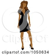 Royalty Free RF Clip Art Illustration Of A Sexy Hispanic Woman Posing In A Black Dress by Pams Clipart