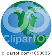 Royalty Free RF Clip Art Illustration Of A Green And Blue American Globe