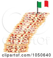 Royalty Free RF Clip Art Illustration Of A Leaning Tower Of Pizza Topped With An Italian Flag