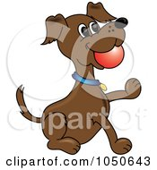Royalty Free RF Clip Art Illustration Of A Fetching Dog With A Ball In His Mouth