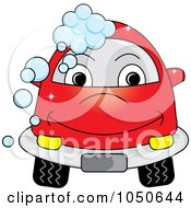 Royalty Free RF Clip Art Illustration Of A Red Car With Soap Bubbles