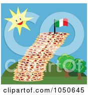 Royalty Free RF Clip Art Illustration Of A Leaning Tower Of Pizza And Italian Flag