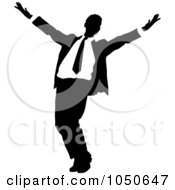 Royalty Free RF Clip Art Illustration Of A Happy Black And White Businessman by Pams Clipart