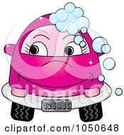Royalty Free RF Clip Art Illustration Of A Happy Pink Car With Soap Bubbles by Pams Clipart