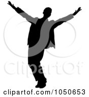 Royalty Free RF Clip Art Illustration Of A Happy Silhouetted Businessman by Pams Clipart