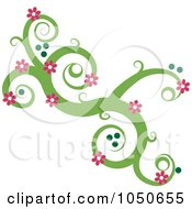 Green Swirl Design Element With Pink Flowers