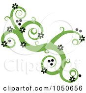 Royalty Free RF Clip Art Illustration Of A Green Swirl Design Element With Black Flowers by Pams Clipart