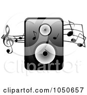 Royalty Free RF Clip Art Illustration Of A Music Speaker And Music Notes