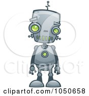 Royalty Free RF Clip Art Illustration Of A Cute Robot With Green Eyes by John Schwegel