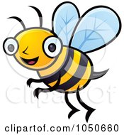 Royalty Free RF Clip Art Illustration Of A Happy Honey Bee by John Schwegel #COLLC1050660-0127