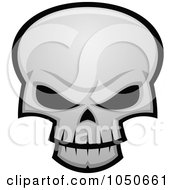 Royalty Free RF Clip Art Illustration Of An Evil Skull With Dark Eye Sockets by John Schwegel