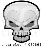 Royalty Free RF Clip Art Illustration Of An Evil Skull With Dark Eye Sockets