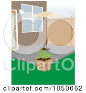 Royalty Free RF Clip Art Illustration Of A Plant And Umbrella In A Courtyard by mheld