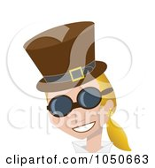 Royalty Free RF Clip Art Illustration Of A Blond Steampunk Woman In A Hat And Glasses by mheld