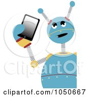 Annoyed Blue Robot Holding A Tablet