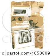 Royalty Free RF Clip Art Illustration Of A Grungy Kitchen Interior