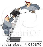 Royalty Free RF Clip Art Illustration Of Solar Panel Installers Working Together by Dennis Cox