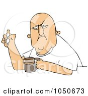 Royalty Free RF Clip Art Illustration Of A Grumpy Old White Man Smoking A Cigarette Over Coffee by djart