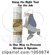 Worker Trying To Adjust A Pipe With A Small Wrench