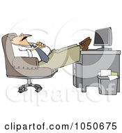 Royalty Free RF Clip Art Illustration Of A Businessman Relaxing With His Feet On His Desk