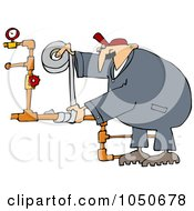 Royalty Free RF Clip Art Illustration Of A Plumber Using Duct Tape To Fix Pipes by Dennis Cox