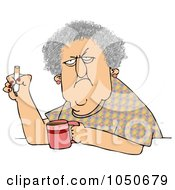 Royalty Free RF Clip Art Illustration Of A Grumpy Old White Woman Smoking A Cigarette Over Coffee