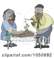 Royalty Free RF Clip Art Illustration Of A Black Couple Changing Their Babys Diaper