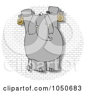 Royalty Free RF Clip Art Illustration Of A Chained Hanging Elephant On A Brick Wall by djart