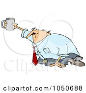 Royalty Free RF Clip Art Illustration Of A Broke Businessman Begging On His Knees